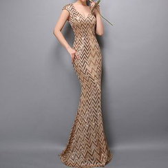 Posh Bride - Sequined V-Neck Cap Sleeve Evening Gown