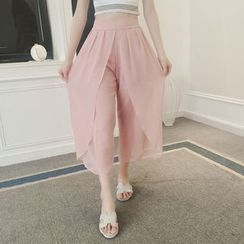QZ Lady - Cropped Chiffon Wide Leg Pants