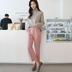 Hello sweety - Band-Waist Seam-Front Pants