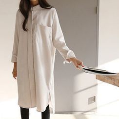 Hello sweety - Mandarin-Collar Corduroy Shirtdress