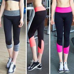 Girasol - Sport Contrast-Trim Cropped Leggings