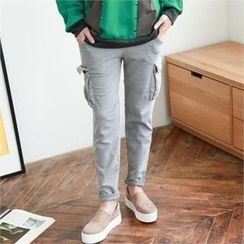 GLAM12 - Cargo-Pocket Trim Pants