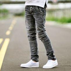 SeventyAge - 黑灰立体刷色造型皮革长裤牛仔裤