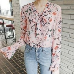 mimi&didi - Floral-Patterned Bell-Sleeve Blouse