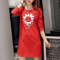 Q.C.T - Print Long-Sleeve T-shirt Dress