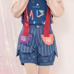 Moriville - Striped Color Panel Suspender Denim Shorts