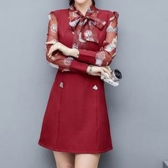 Lavogo - Bow Accent Printed Long Sleeve Dress