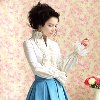 Dabuwawa - Stand-Collar Ruffled Blouse