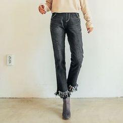 Seoul Fashion - Fringe-Hem Washed Straight-Cut Jeans