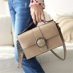 Styleberry - Faux-Leather Buckled Satchel
