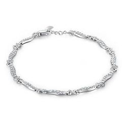 MaBelle - 14K Italian White Gold Diamond-Cut Crosses Bracelet, Women Girl Jewelry in Gift Box