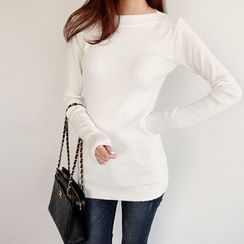 NIPONJJUYA - Boat-Neck Slim-Fit Knit Top
