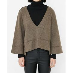 Someday, if - V-Neck Cropped Wool Blend Top