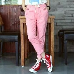 Heybabe - Plain Drawstring Pants
