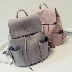 Nautilus Bags - Drawstring Faux Leather Backpack