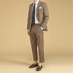 THE COVER - Set: Cotton Blazer + Dress Pants with Belt