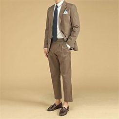 THE COVER - Set: Cotton Blazer + Dress Pants with Belt