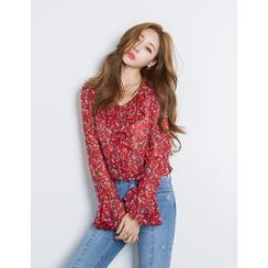 GUMZZI - V-Neck Ruffled Floral Chiffon Top