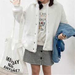 Anlay - Set: Fleece Jacket + Distressed Buttoned Denim Jacket