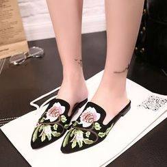 Zandy Shoes - Embroidered Slide Sandals