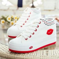 Solejoy - Lip-Applique High-Top Sneakers