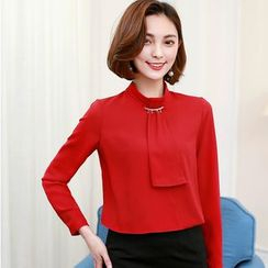 Jolly Club - Tie-Accent Chiffon Blouse