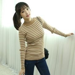 Dodostyle - Stripe Mock-Neck Ribbed Knit Top