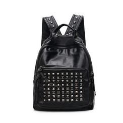 Tasche - Set : Studded Faux Leather Backpack + Shoulder Bag + Pouch