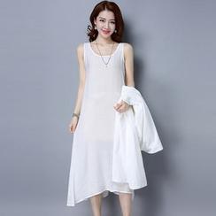 Ebbie - Plain Midi Tank Dress
