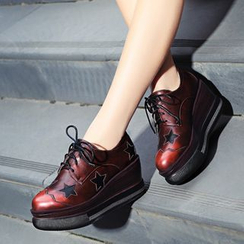 JY Shoes - Star Lace-Up Platform Wedge Shoes