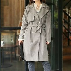 Seoul Fashion - Double-Breasted Trench Coat with Sash