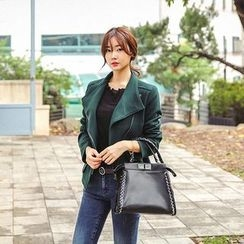 Seoul Fashion - Flap-Pocket Diagonal-Zip Jacket