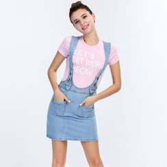 Yishion - Denim Suspender Skirt