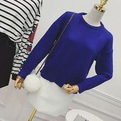 Octavia - Set: Plain Sweater + Faux Leather Mini Skirt