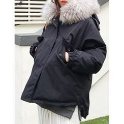 FROMBEGINNING - Faux-Fur Hood Padded Jacket