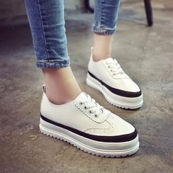 One100 - Platform Paneled Lace-Up Sneakers