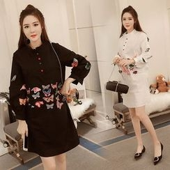 Sienne - Butterfly Embroidered Long Sleeve Dress
