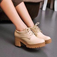 TULASI - Lace-Up Chunky Heel Platform Shoes