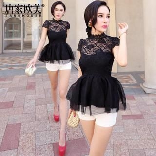 Tang House - Cap-Sleeve Lace Panel Peplum Top