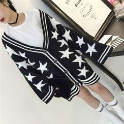 THE XIBI - Star V-Neck Chunky Cardigan