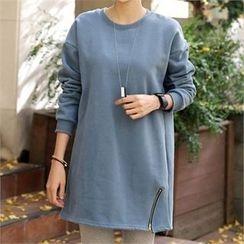 CHICFOX - Zip-Detail Brushed Fleece T-Shirt
