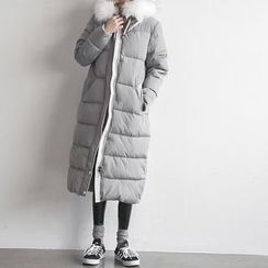 NANING9 - Faux-Fur Hooded Padded Thicken Coat