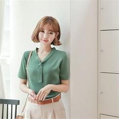 Styleberry - Tie-Neck Short-Sleeve Knit Top