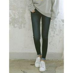 LOLOten - Washed Brushed-Fleece Lined Skinny Jeans