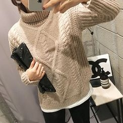 STYLEBYYAM - Turtle-Neck Cable-Knit Top