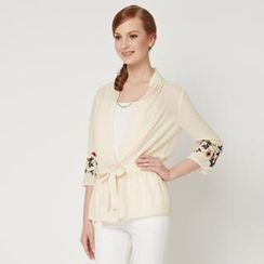 O.SA - 3/4-Sleeve Tie-Waist Embroidered Chiffon Top