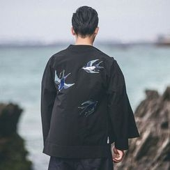 Ashen - Chinese-Style Swallows-Embroidered Frog-Button Jacket