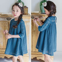 Debii - Kids Lace-Panel A-Line Dress