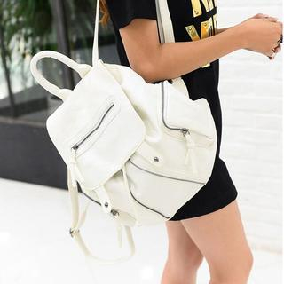 Buy Seok Faux Leather Drawcord Backpack | YesStyle
