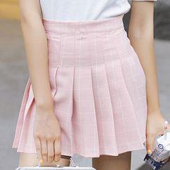 Dasim - Window Pane Plaid Mini Skirt